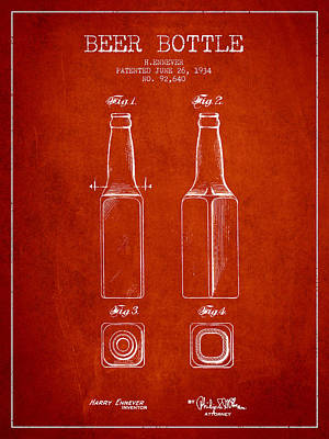 Beer Royalty-Free and Rights-Managed Images - Vintage Beer Bottle Patent Drawing from 1934 - Red by Aged Pixel
