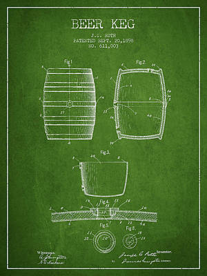 Beer Royalty-Free and Rights-Managed Images - Vintage Beer Keg Patent Drawing from 1898 - Green by Aged Pixel