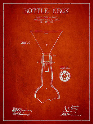 Vintage Bottle Neck Patent From 1891 Art Print