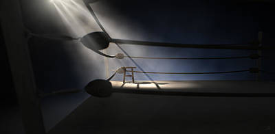 Dramatic Digital Art - Vintage Boxing Corner And Stool by Allan Swart