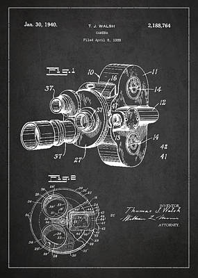Vintage Camera Wall Art - Digital Art - Vintage Camera Patent Drawing From 1938 by Aged Pixel
