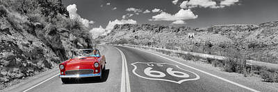 Vintage Car Moving On The Road, Route Art Print