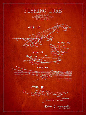 Vintage Fishing Lure Patent Drawing From 1969 Art Print by Aged Pixel