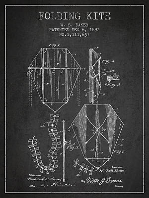 Kite Digital Art - Vintage Folding Kite Patent From 1892 by Aged Pixel