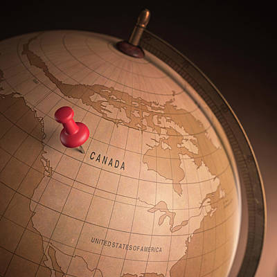 Push Pin Photograph - Vintage Globe With A Push Pin by Ktsdesign