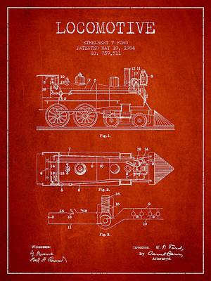 Transportation Digital Art - Vintage Locomotive patent from 1904 by Aged Pixel