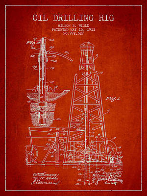 Vintage Oil Drilling Rig Patent From 1911 Art Print