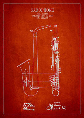Saxophone Drawing - Saxophone Patent Drawing From 1899 - Red by Aged Pixel