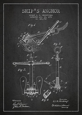 Vintage Ship Anchor Patent From 1892 Art Print by Aged Pixel
