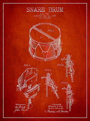 Drummer Digital Art - Vintage Snare Drum Patent Drawing From 1889 - Red by Aged Pixel