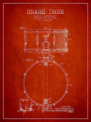 Snare Drum Patent Drawing From 1939 - Red Art Print by Aged Pixel