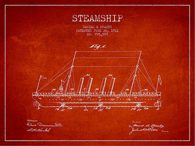 Steam Digital Art - Vintage Steamship Patent From 1911 by Aged Pixel