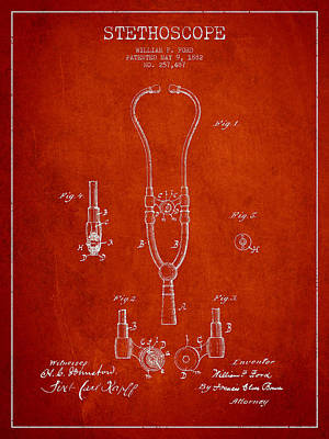 Stethoscopes Drawing - Vintage Stethoscope Patent Drawing From 1882 - Red by Aged Pixel