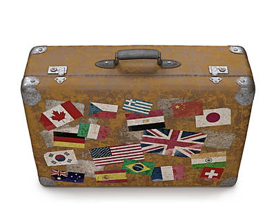 Stickers Photograph - Vintage Suitcase With Stickers by Ktsdesign