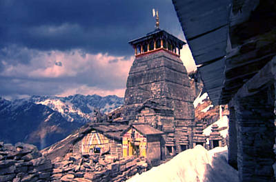 Mountain Ranges Mixed Media - Vintage Temple At The Origin Of Ganga On Of Of The Top Peaks Of Himalaya Mountain Ranges In India   by Navin Joshi