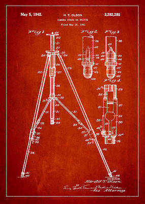 Tripods Drawing - Vintage Tripod Patent Drawing From 1941 by Aged Pixel