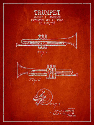 Trumpet Digital Art - Vintage Trumpet Patent From 1940 - Red by Aged Pixel