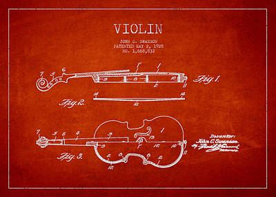 Musician Royalty-Free and Rights-Managed Images - Vintage Violin Patent Drawing From 1928 by Aged Pixel