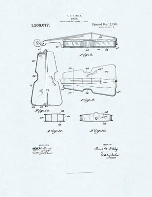 Violin Patent Drawing On Blue Background Art Print by Steve Kearns