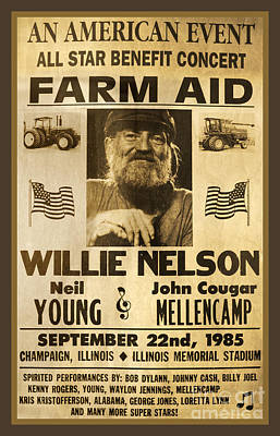 Neil Young Photograph - Vintage Willie Nelson 1985 Farm Aid Poster by John Stephens