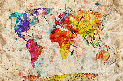 Damaged Photograph - Vintage World Map by Michal Bednarek