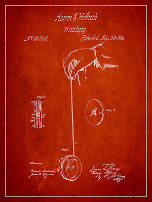 Yoyo Digital Art - Vintage Yoyo Patent Drawing From 1866 by Aged Pixel