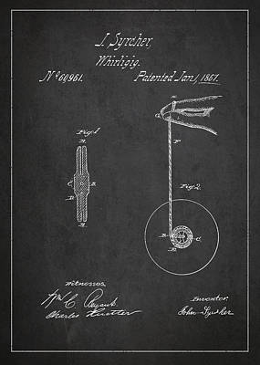 Yoyo Digital Art - Vintage Yoyo Patent Drawing From 1867 by Aged Pixel