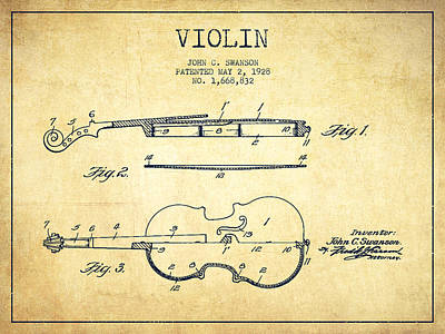 Musician Royalty-Free and Rights-Managed Images - Violin Patent Drawing From 1928 by Aged Pixel