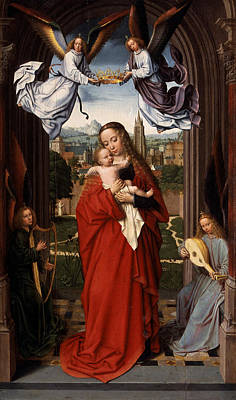 Jesus With A Child Painting - Virgin And Child With Four Angels by Celestial Images
