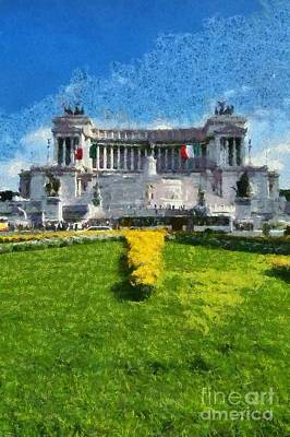 Painting - Vittorio Emanuele Monument In Rome by George Atsametakis