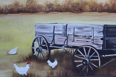 Painting - Wagon And Chickens by Christine McMillan