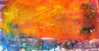 Wagon Train At Sunset Art Print