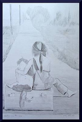 Girl And Dog Drawing - Waitin' On The Bus by Gary Kirkpatrick