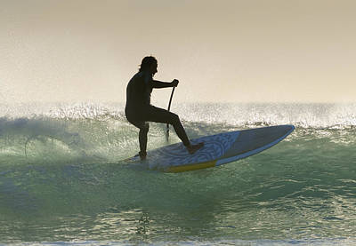Wakeboarding Los Lances Beach Tarifa Art Print by Ben Welsh