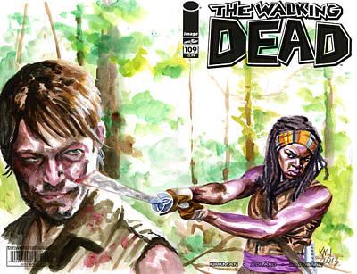 Daryl Dixon Painting - Walking Dead Michonne by Ken Meyer jr