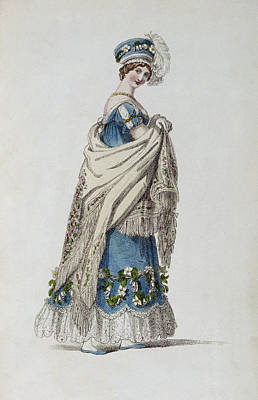 Ostrich Drawing - Walking Dress, Fashion Plate by English School