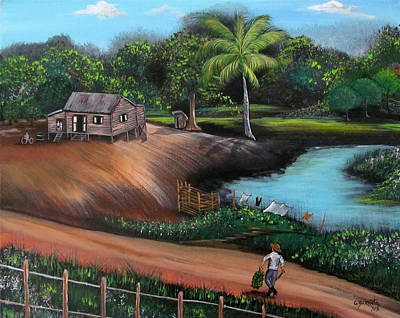 Puerto Rico Painting - Walking Home by Gloria E Barreto-Rodriguez