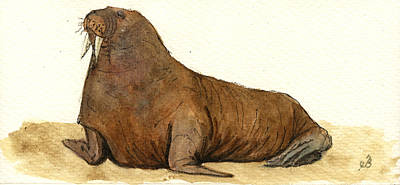 Seals Painting - Walrus by Juan  Bosco