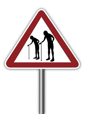 Warning Sign With Elderly People Symbol Print by Alfred Pasieka