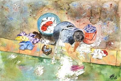 Scrubbing Painting - Washing by Joyce Ann Burton-Sousa