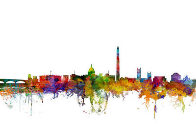 Washington Wall Art - Digital Art - Washington Dc Skyline by Michael Tompsett