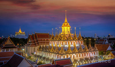 Wat Ratchanaddaram And Loha Prasat Metal Palace Art Print by Anek Suwannaphoom