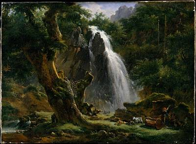 Etna Painting - Waterfall At Mont-dore by Achille-Etna Michallon