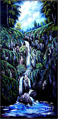 Bob Ross Painting - Waterfall  by Shirwan Ahmed
