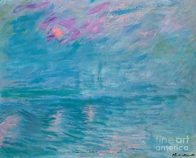 British Abstract Art Painting - Waterloo Bridge by Claude Monet