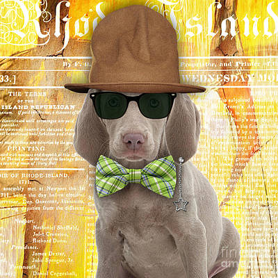 Weimaraner Bowtie Collection Print by Marvin Blaine