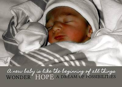 Baby Photograph - Welcome Quote by JAMART Photography