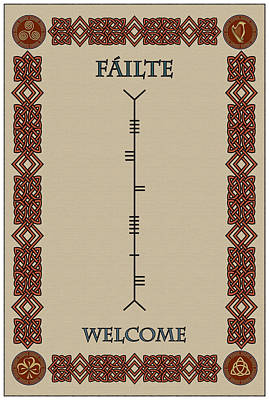 Welcome Written In Ogham Art Print by Ireland Calling