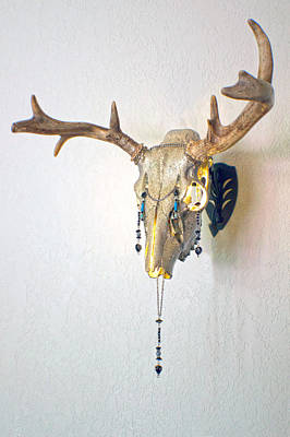 Steer Mixed Media - White And Gold White Tail Illuminating Skull by Mayhem Mediums