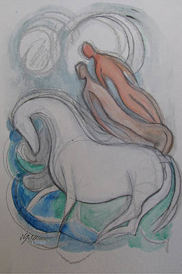 Hip Drawing - White Horse Lovers by Gita Lloyd